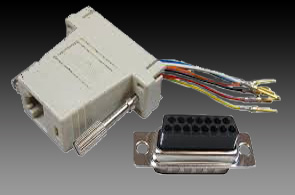 Adapter-Hood-15-Pin-Male-to-6-Conductor-RJ12-Female-Hardware-232A6C15M